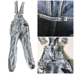American Bazi Acid Wash Distressed Jogger Overalls